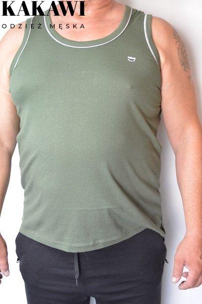 T-shirt na wąskie ramiączka oliwkowy nadwymiar.