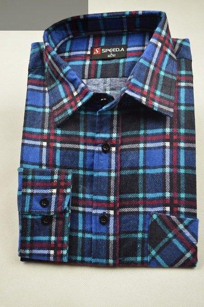 Koszula flanelowa granatowa w turkusowo-bordową kratę