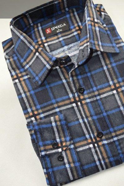 Koszula flanelowa granatowa w kratę beżowo-niebieską