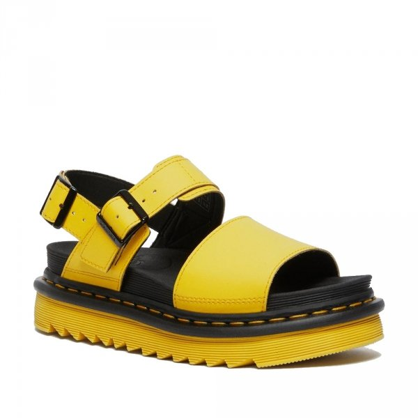 Sandały Dr. Martens STRAP SANDALS Yellow Hydro Leather 26541703