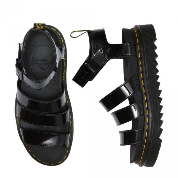 Sandały Dr. Martens BLAIRE Black Patent Lamper 24192001