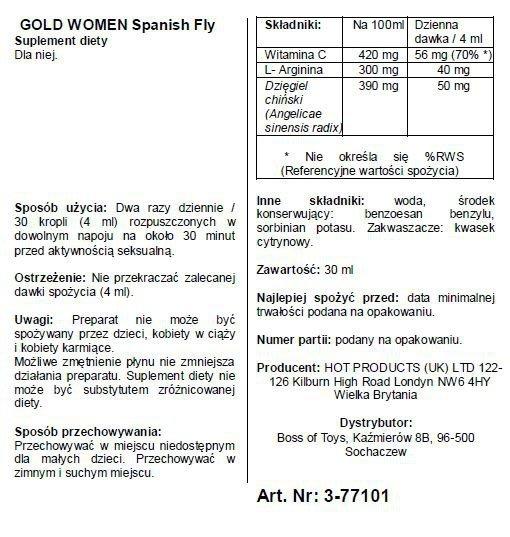 Krople dla Pań -Spain Fly Women- GOLD strong- 30ml