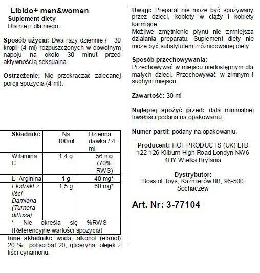 Krople na libido -Libido + (m+w) 30ml