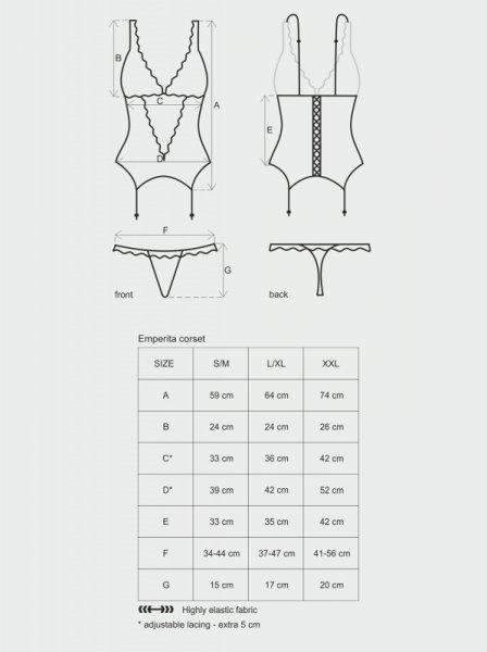 Bielizna-Emperita gorset i stringi  S/M