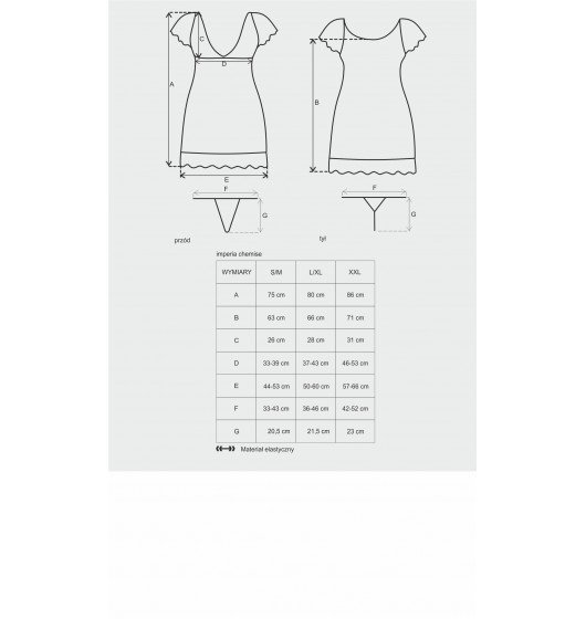 Imperia koszulka i stringi czarne L/XL