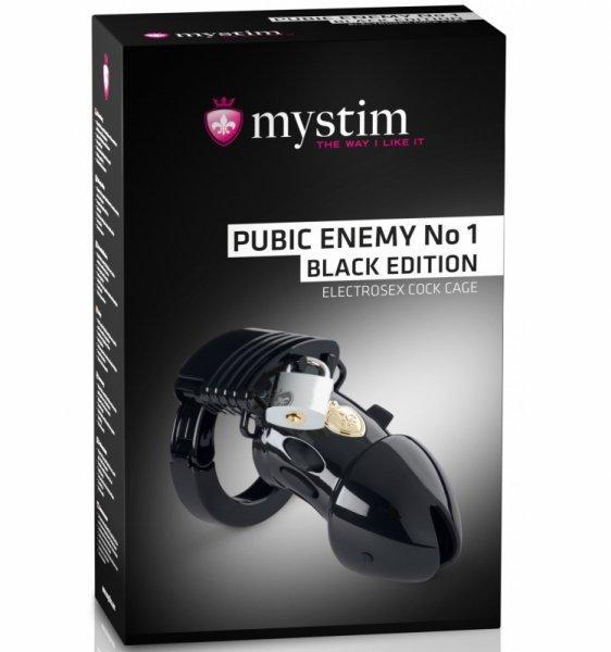 Mystim Pubic Enemy No 1 czarny pas cnoty z elektrostymulacją
