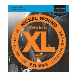 Struny D'ADDARIO XL Nickel EXL160-5 (50-135) 5str.