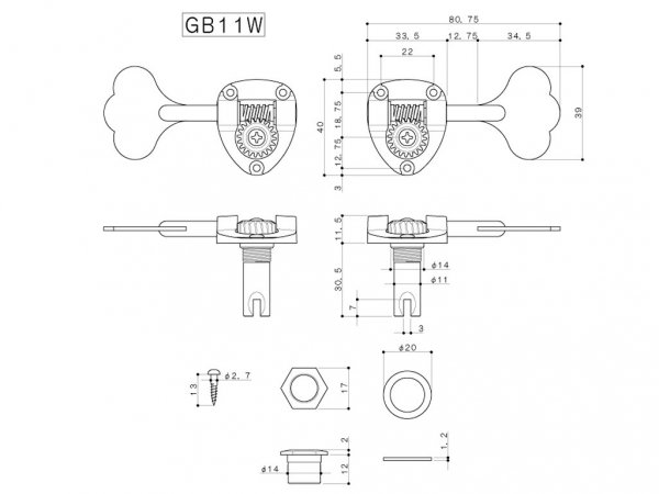 Pojedynczy klucz do basu GOTOH GB11W (CR,L)