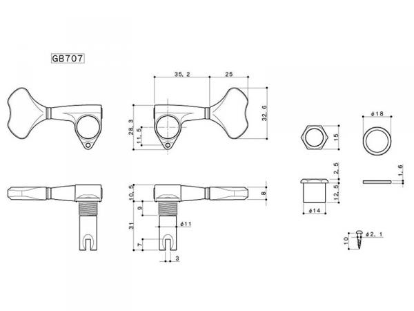 Pojedynczy klucz do basu GOTOH GB707 (BK,P)