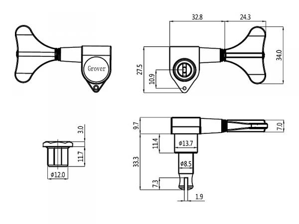 Klucze do basu GROVER 144 Mini (BC,2+2)