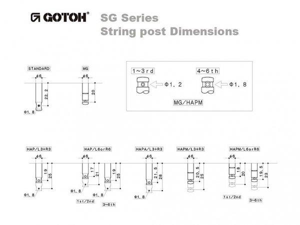 Klucze do gitary GOTOH SG381-01 (CR,3+3)