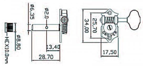 Klucze do gitary GROVER  STA-TITE H97-18 (GD,3+3)