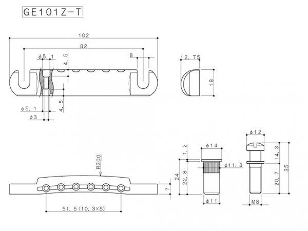 Zaczep strun GOTOH GE101Z-T (CK)