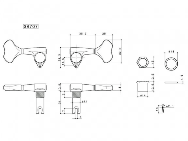 Pojedynczy klucz do basu GOTOH GB707 (BK,L)