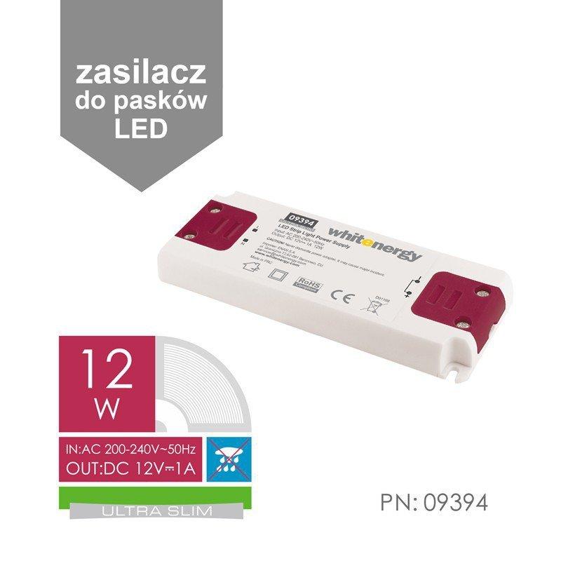 Zasilacz do taśm LED SLIM 230V 12W 12V wewnętrzny, z zabezpieczeniami