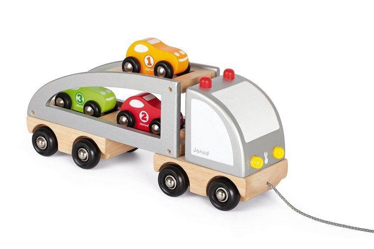 Samochód drewniany laweta do ciągnięcia, Janod