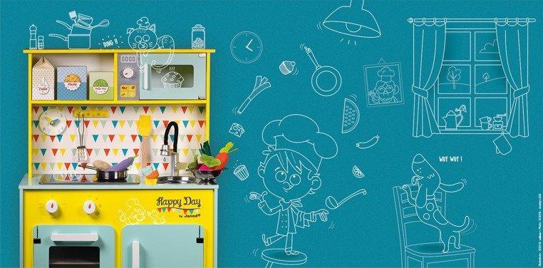 Kuchnia drewniana z dźwiękiem i z 7 akcesoriami Happy Day, Janod