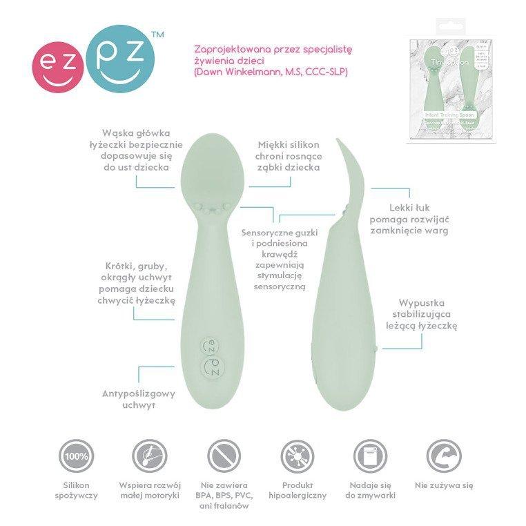 EZPZ Silikonowa łyżeczka Tiny Spoon 2 szt. pastelowa zieleń