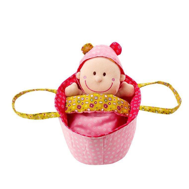 LILLIPUTIENS Lalka dzidziuś w koszyczku z grzechotką, ubrankiem i kocykiem Chloe 9 m+