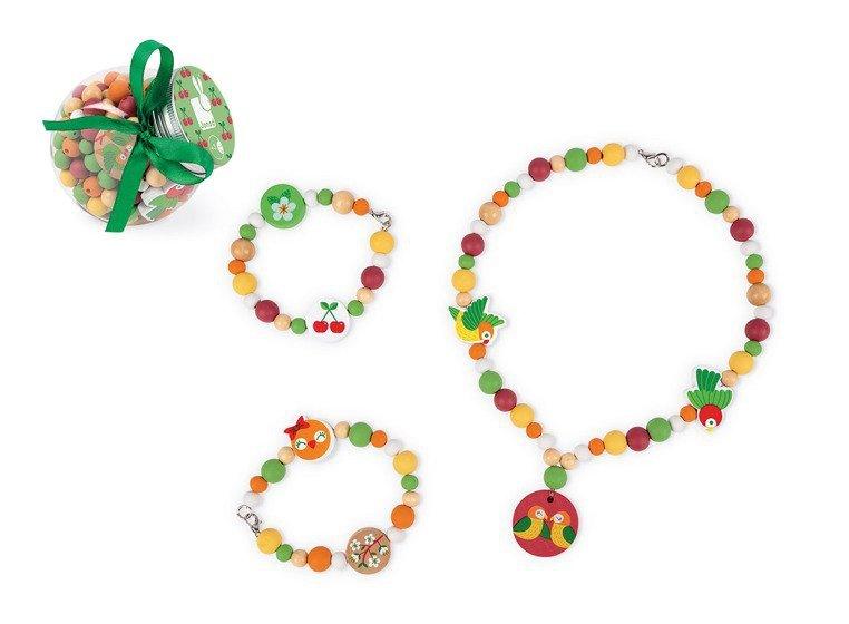 Zestaw do tworzenia biżuterii Drewniane koraliki Papużki nierozłączki, Janod