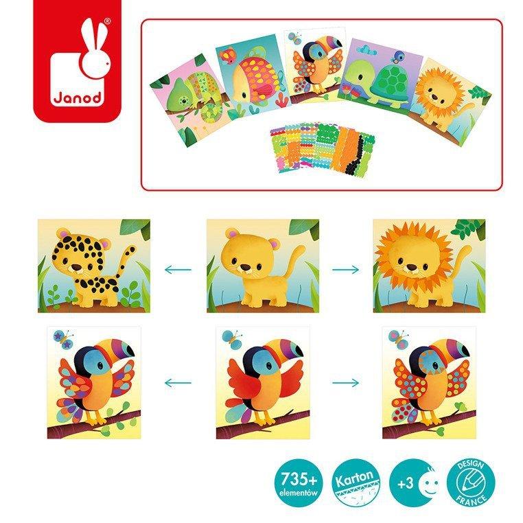 Zestaw kreatywny Karty z naklejkami Zwierzęta świata 3+, Janod