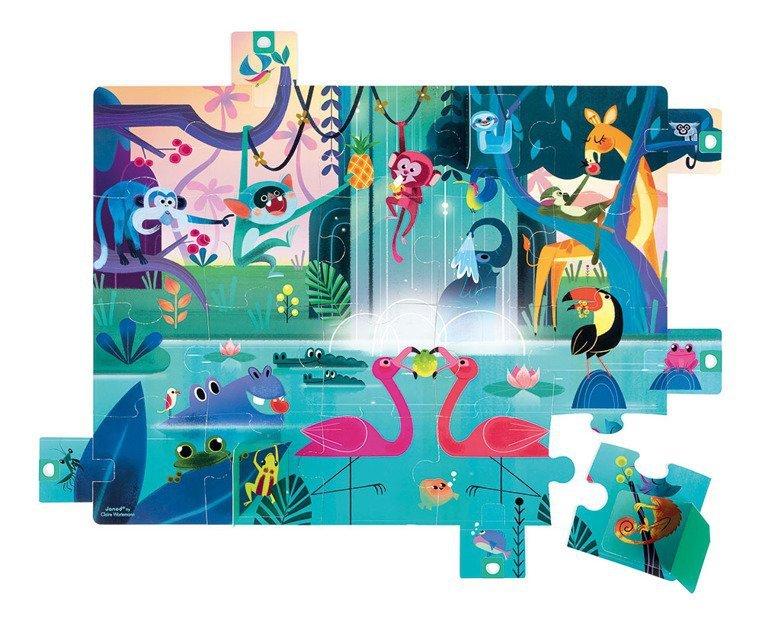 Puzzle z niespodzianką 20 elementów Uczta w dżungli, Janod