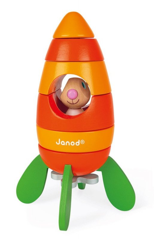 Rakieta drewniana magnetyczna marchewka z Królikiem, Janod