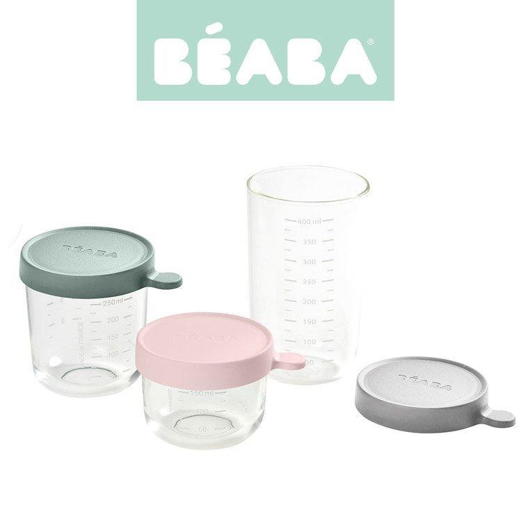 BEABA Zestaw pojemników słoiczków szklanych z hermetycznym zamknięciem 150 + 250 + 400 ml pink, eucalyptus green i light mist