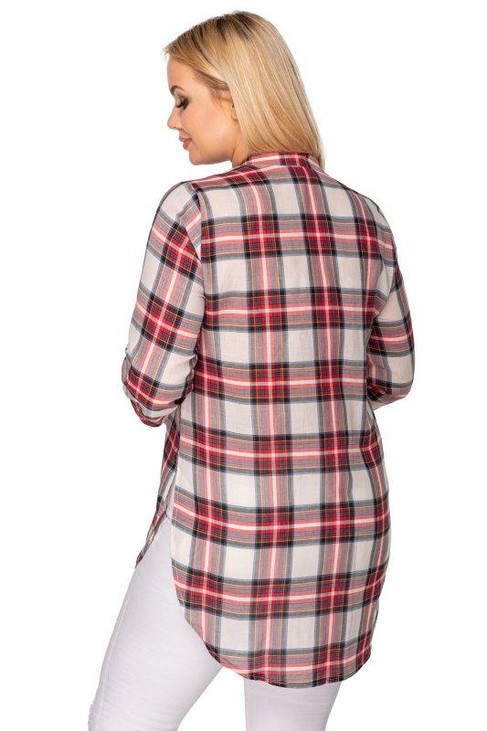 bluzka o koszulowym kroju w kratkę z kieszenią na biuście
