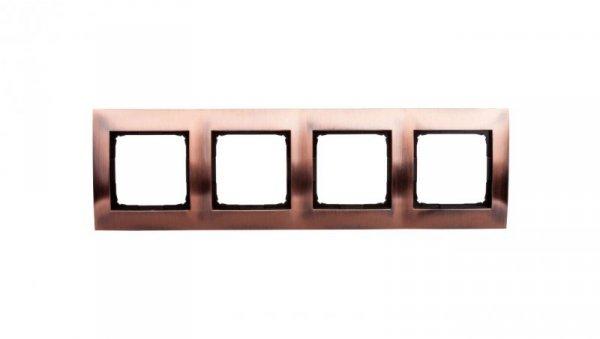 Simon 54 Premium Ramka poczwórna metalowa miedź rustykalna DR4/36