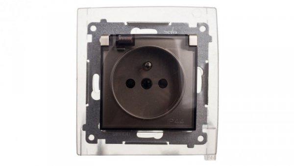 Simon 54 Gniazdo bryzgoszczelne z/u IP44 z klapką transparentną złoty mat DGZ1BZ.01/44A