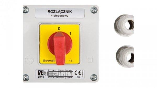 Łącznik krzywkowy 0-1 4P 16A w obudowie SK16-2.8210OB11C