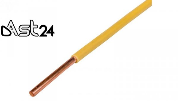 Przewód instalacyjny H05V-U (DY) 4 żółto-zielony /100m/
