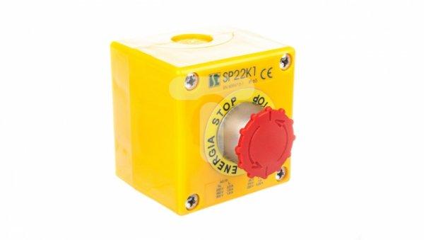 Kaseta z przyciskiem bezpieczeństwa przez obrót 1R IP65 żółta 1x dławnica M20 SP22K105-1