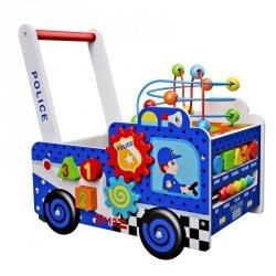 Drewniany pchacz wóz policyjny Ecotoys