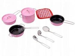 Akcesoria kuchenne metalowe garnki różowe dla dzieci