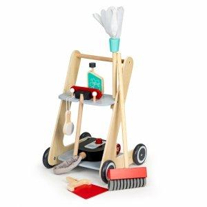 Drewniany zestaw do sprzątania wózek xxl odkurzacz Ecotoys