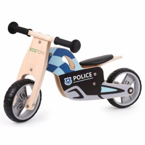 Drewniany rowerek biegowy balansowy Motor Policja Ecotoys