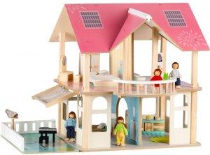 Drewniany domek dla lalek meble +4 lalki Ecotoys