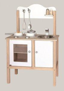 Drewniana kuchnia z akcesoriami biała Viga