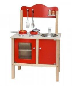 Drewniana kuchnia z akcesoriami czerwona Viga