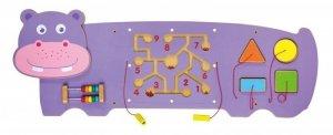Drewniana sensoryczna tablica manipulacyjna - hipopotam Viga 50470