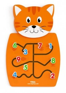Drewniana sensoryczna tablica manipulacyjna - kotek Viga