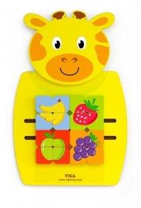 Drewniana sensoryczna tablica manipulacyjna - żyrafa Viga