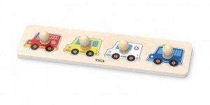 Drewniane pierwsze puzzle z uchwytami - auta Viga