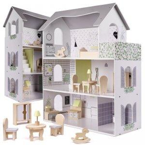 Drewniany domek dla lalek z akcesoriami 70cm LED szary