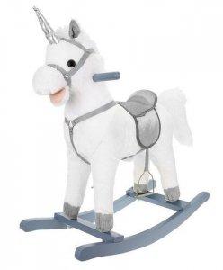 Koń na biegunach 74cm biało-srebrny K9336