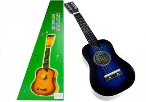 Gitara drewniana klasyczna dla dzieci z kostką Niebieska 60 cm