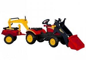 Traktor z przyczepą i łyżką czerwony na pedały