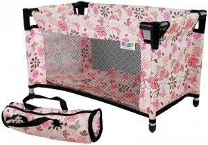Łóżko łóżeczko dla Lalek Alice różowe w kwiaty